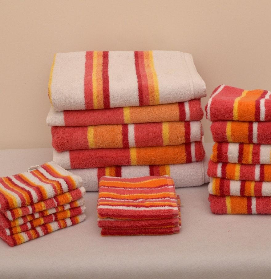 Bath Towel Ensemble In Orange And Yellow Stripe Ebth