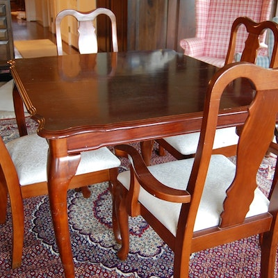 Queen Anne Style Mahogany Dining Table and Six Chairs - Vintage Tables, Antique Tables And Retro Tables Auction In Watch