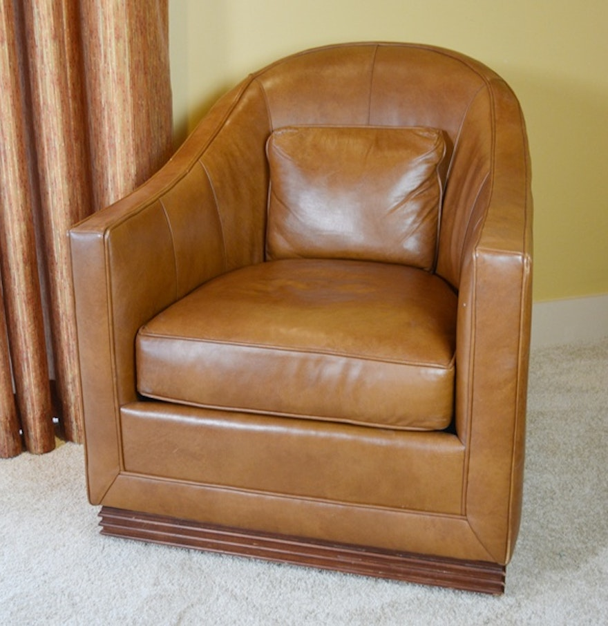 Vanguard furniture caramel leather upholstered swivel club for Swivel club chair leather