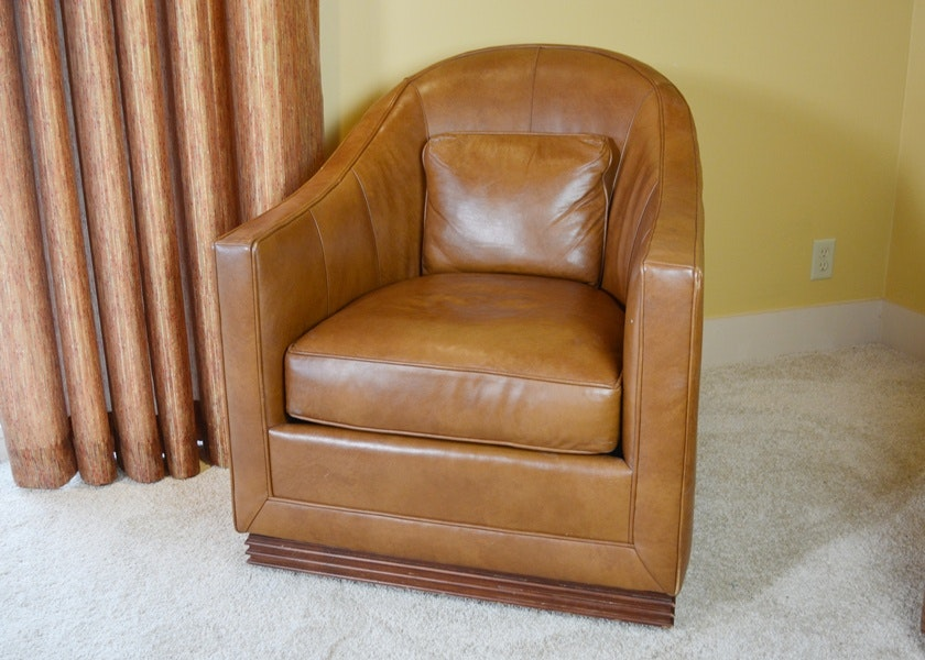 Vanguard Furniture Caramel Leather Upholstered Swivel Club Chair ...