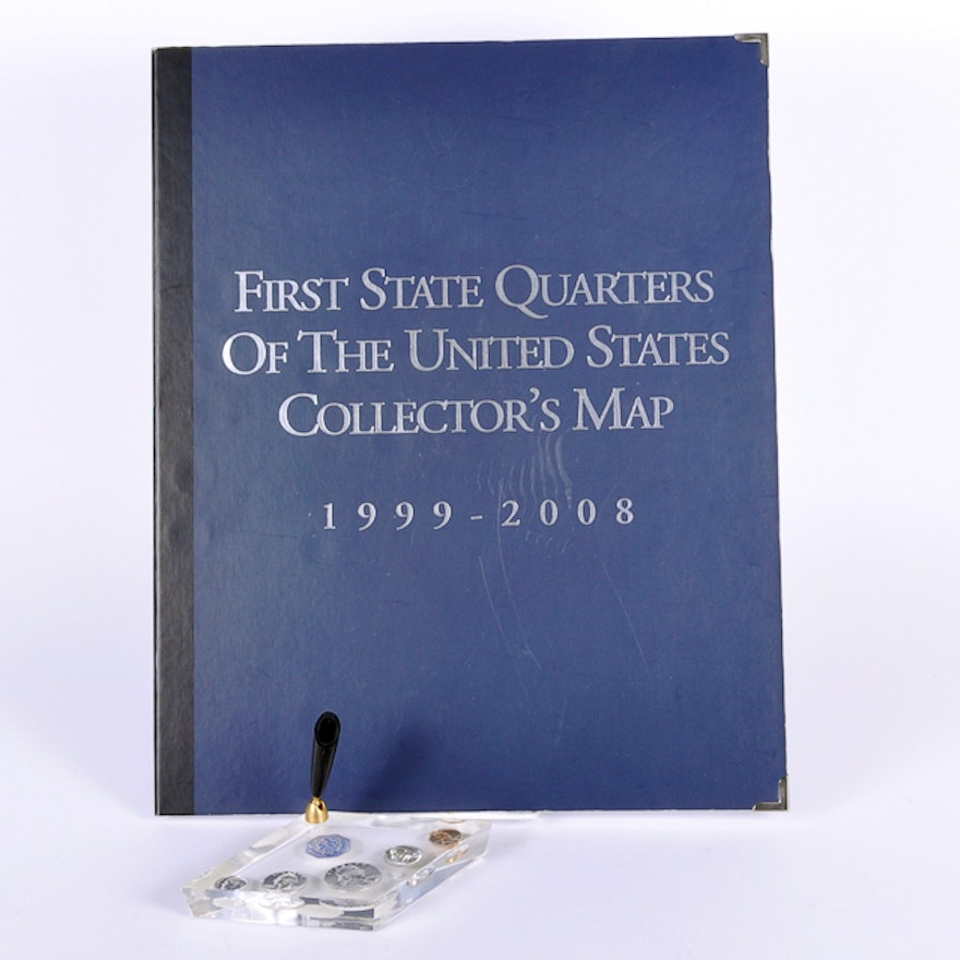 1999 2006 First State Quarters Of The Us Collectors Map Lucite - Us-map-for-quarters