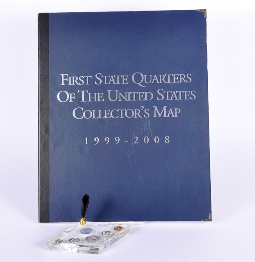 First State Quarters Of The US Collectors Map Lucite - First state quarters of the us collectors map