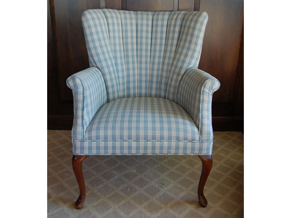 Petite Wingback Chair In Blue Plaid ...