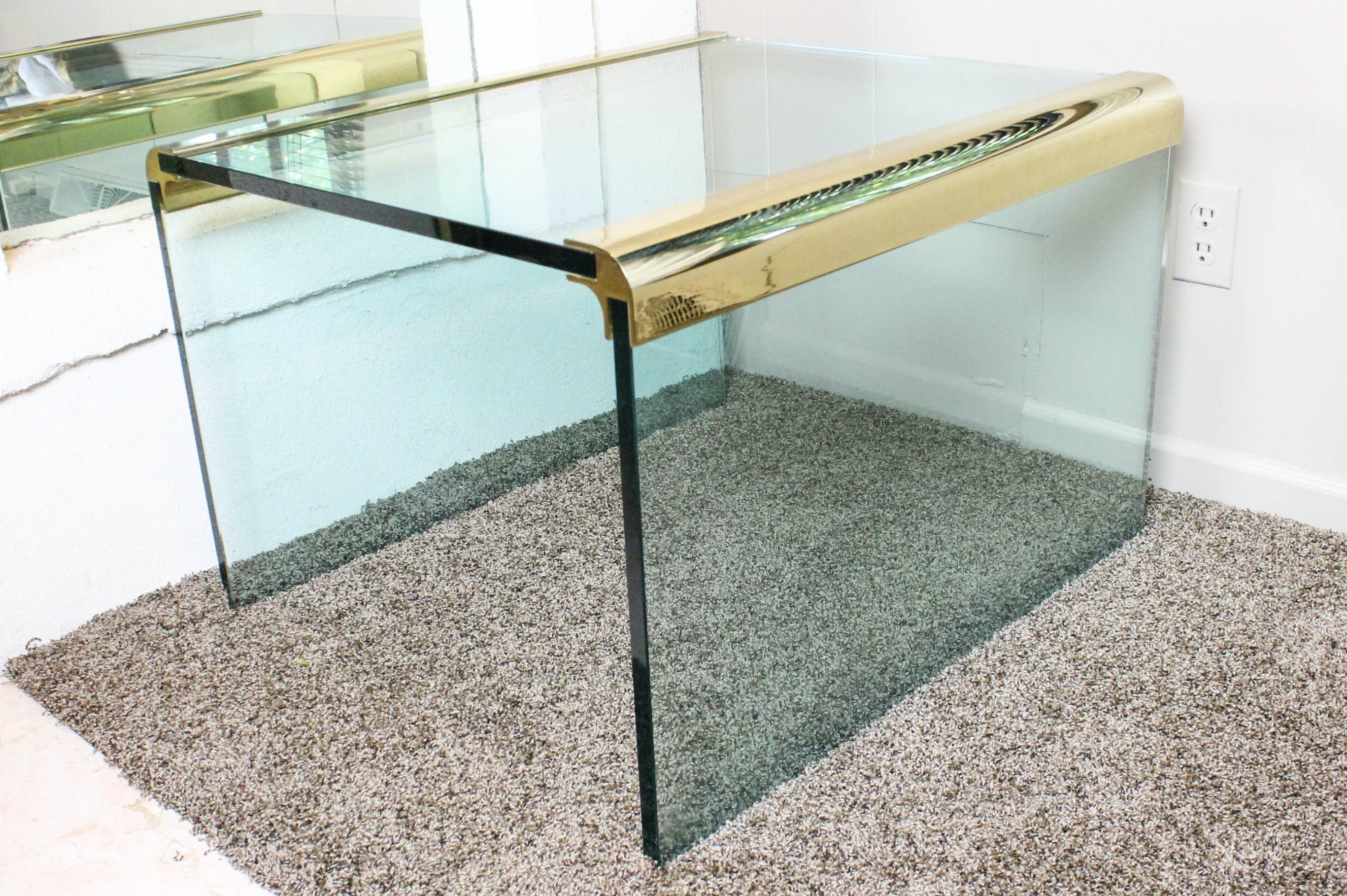 Leon Rosen For Pace Furniture Waterfall Glass Cocktail Table ...
