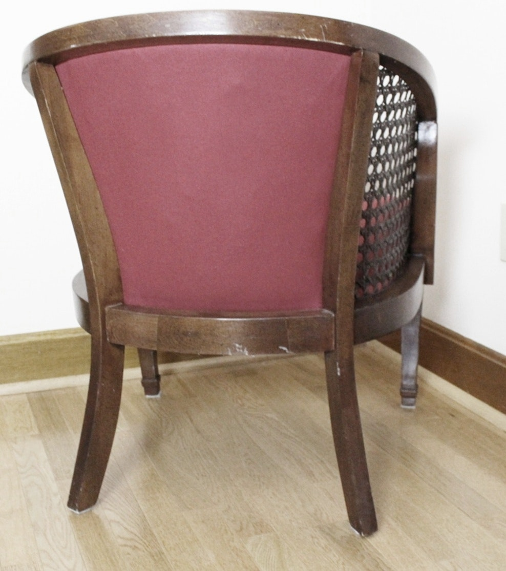 Vintage Wicker And Wood Upholstered Tub Chair Ebth