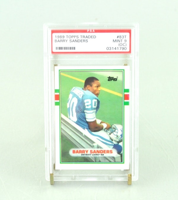 Barry Sanders 1989 Score Rookie Card: PSA Graded Barry Sanders Topps 1989 Rookie Card : EBTH