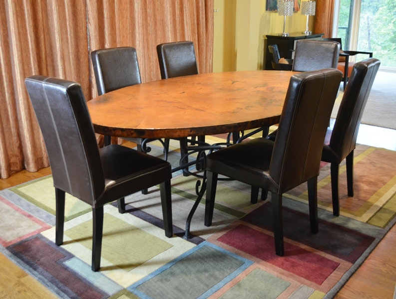 arhaus dining tables and chairs arhaus copper arabesque dining table and eight leather 348