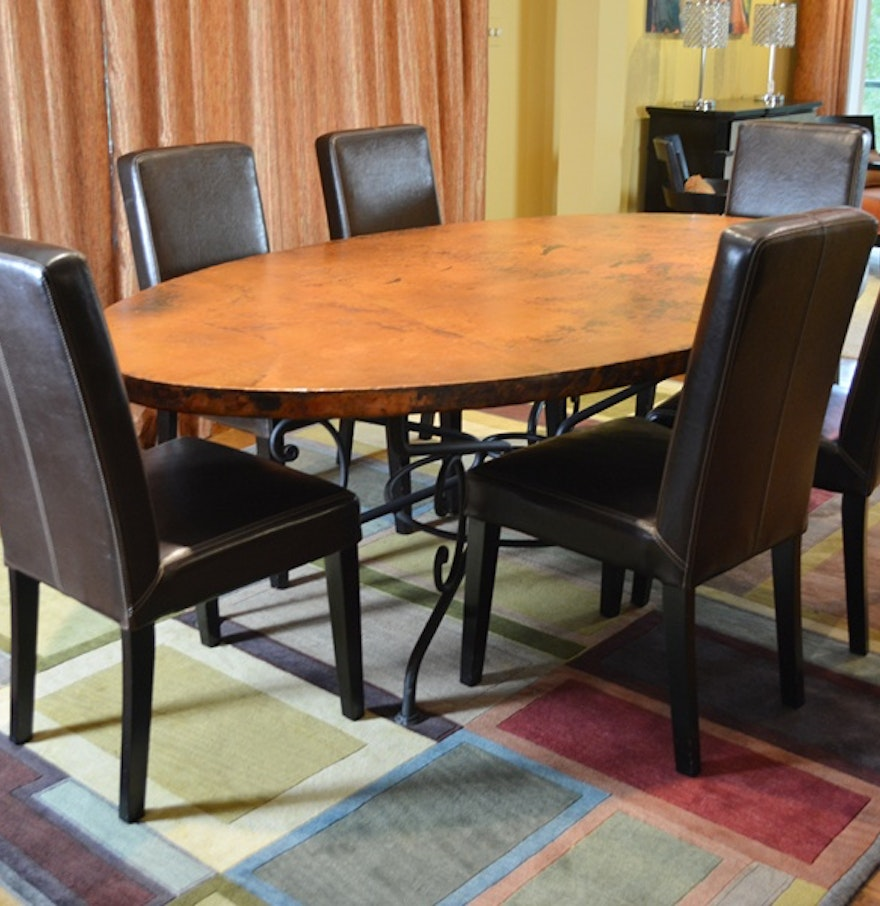 Arhaus Copper Arabesque Dining Table and Eight Leather Chairs : EBTH