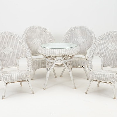 Vintage White Wicker Table and Chairs - Vintage Chairs, Antique Chairs And Retro Chairs Auction In