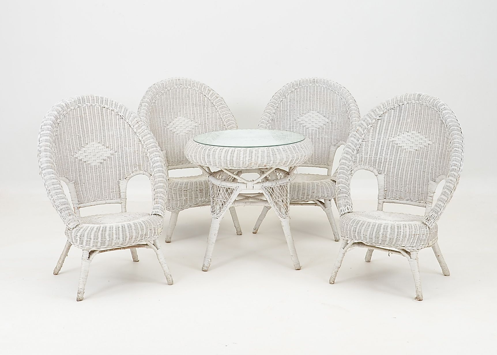 Vintage White Wicker Table And Chairs