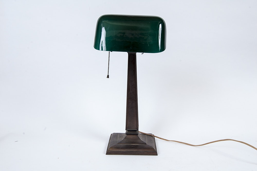 Antique Emeralite Bankers Lamp : EBTH