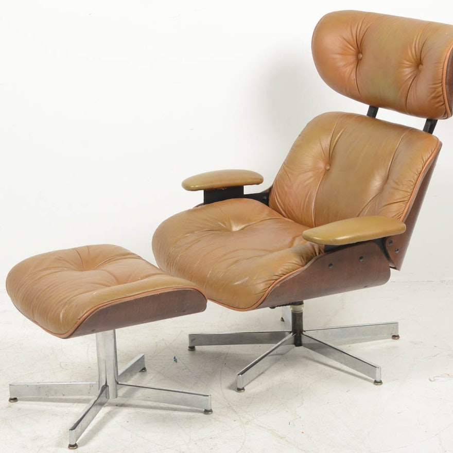Eames Style Lounge Chair And Ottoman Ebth