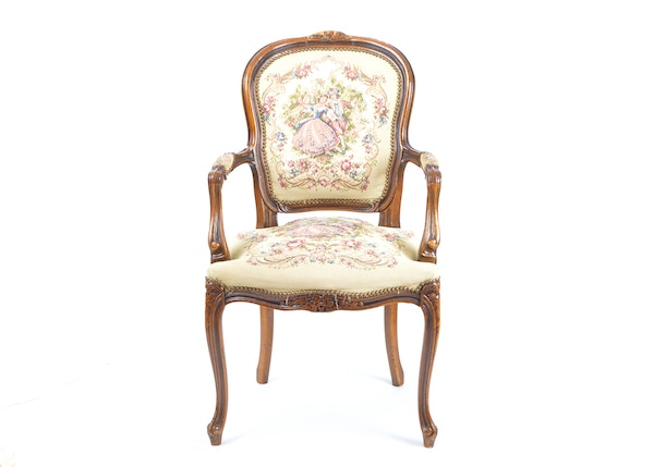 Louis xv style embroidered fauteuil ebth - Fauteuil style louis xv ...