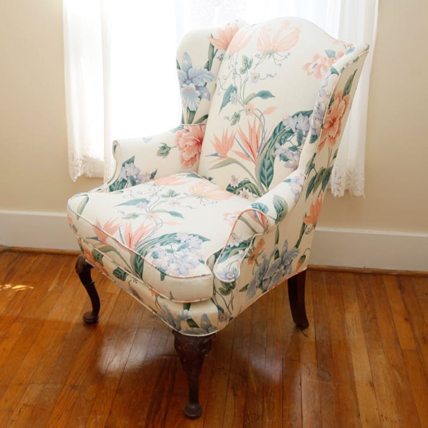 Floral Print Wingback Chair
