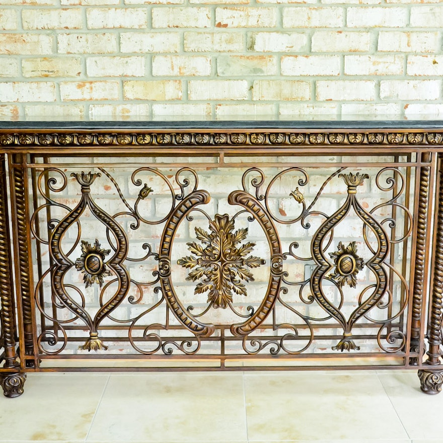 Pleasing Metal And Faux Granite Console Table Pabps2019 Chair Design Images Pabps2019Com