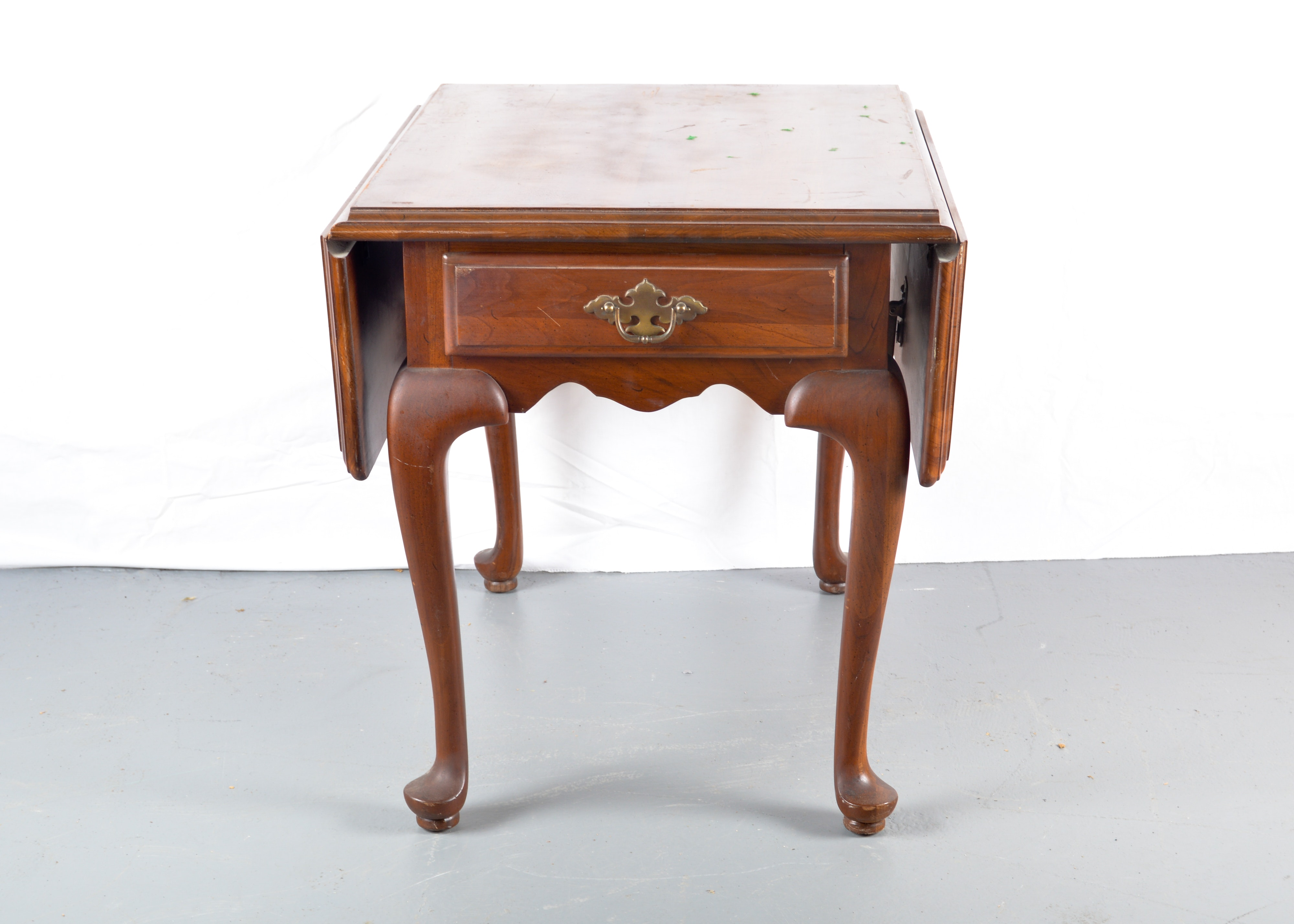 Ethan Allen Solid Cherry Drop Leaf End Table
