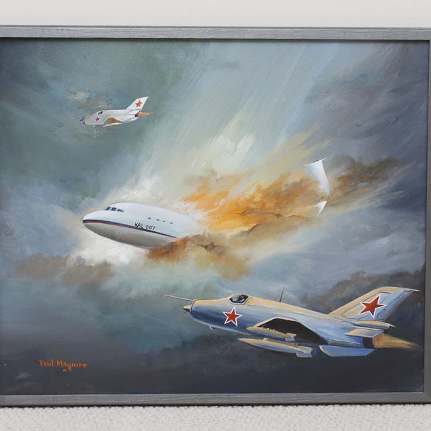 Framed Paul McGuire Airplane Painting : EBTH