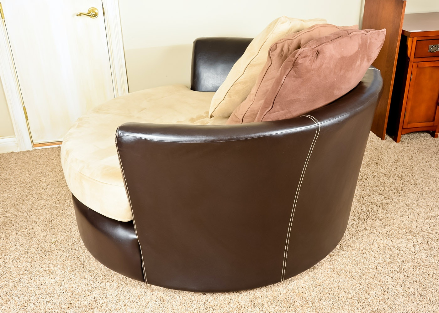 Leather And Microfiber Two Tone Swivel Chair Ebth