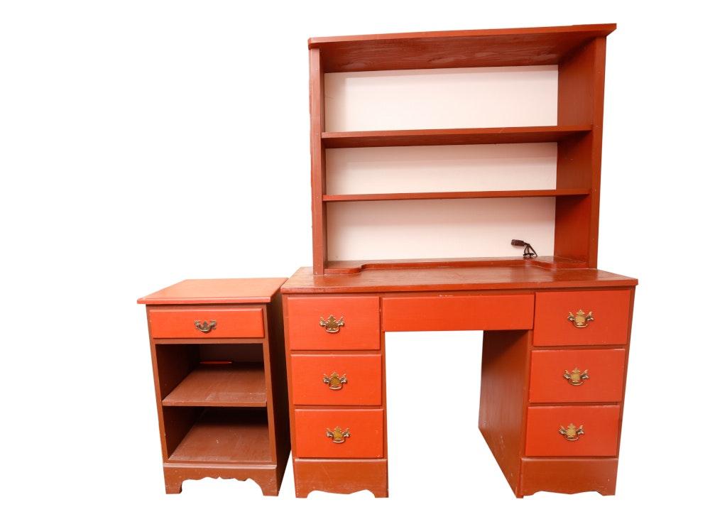 Vintage Student Desk and Bedside Nightstand EBTH