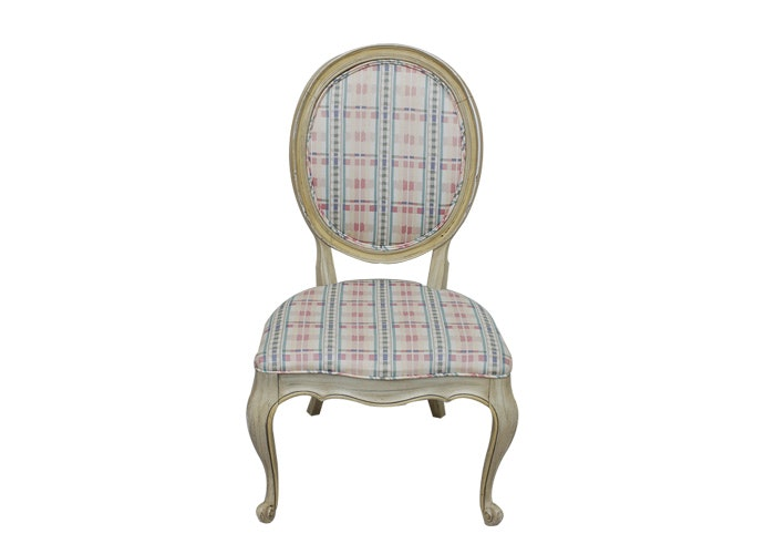 Creme And Plaid Upholstered Chair ...