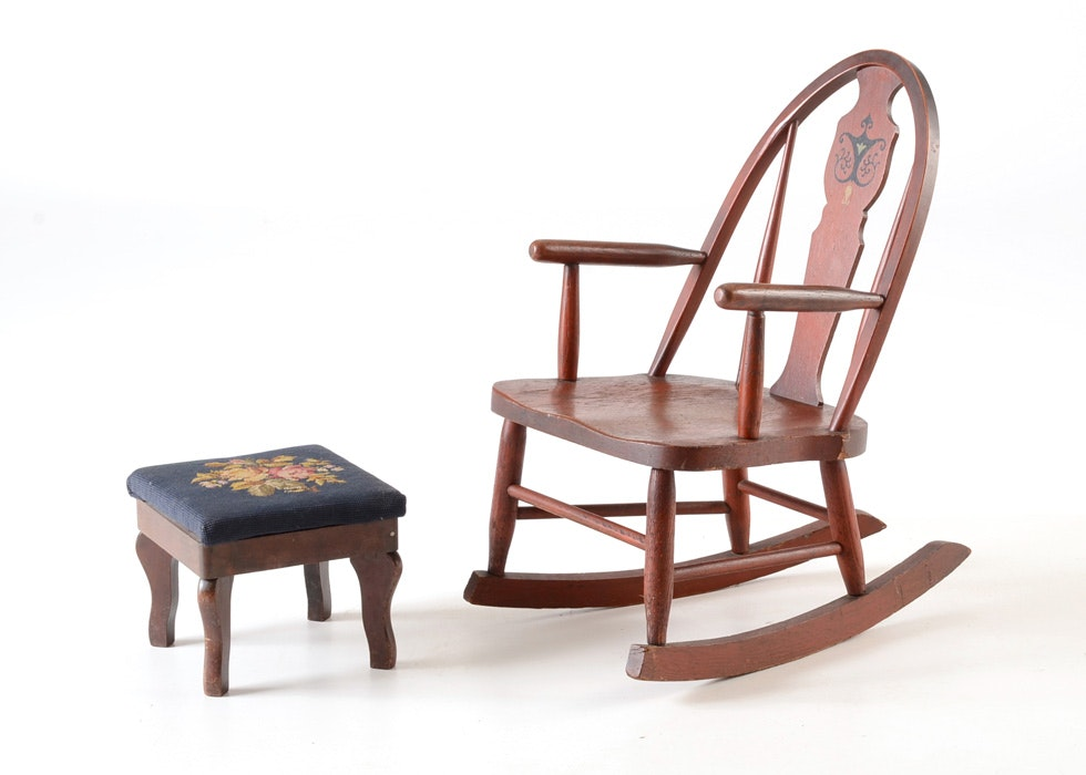 Childrenu0027s Rocking Chair And A Small Victorian Footstool