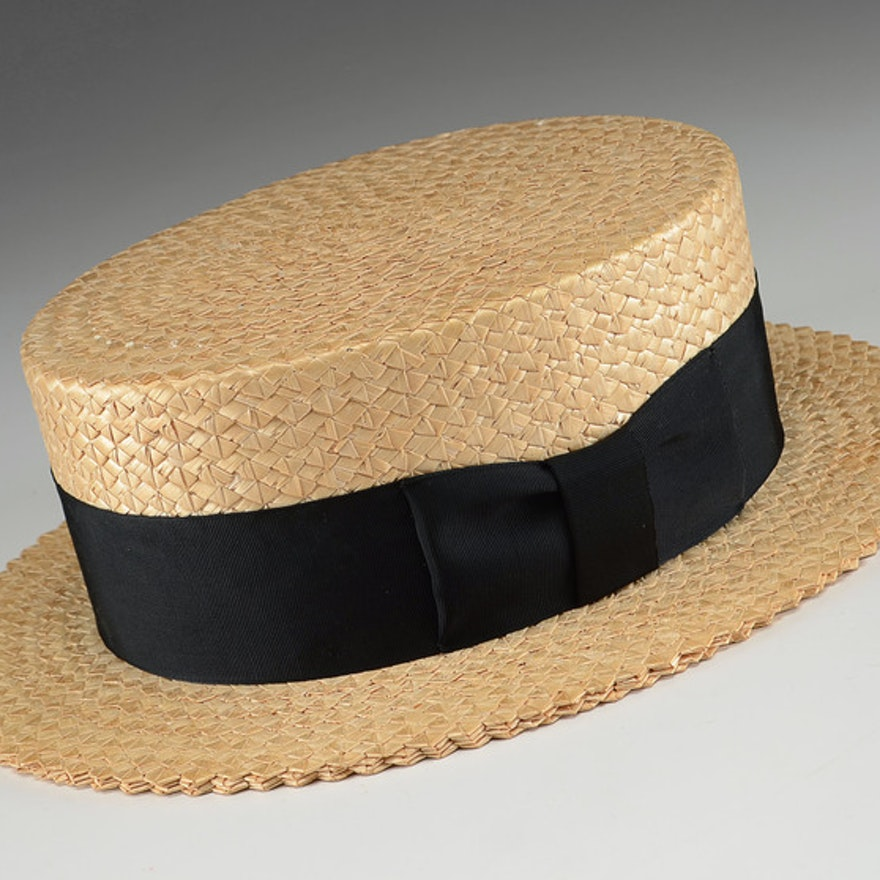 cc12497ff2297 Men s Vintage Straw Wormser Boater Hat