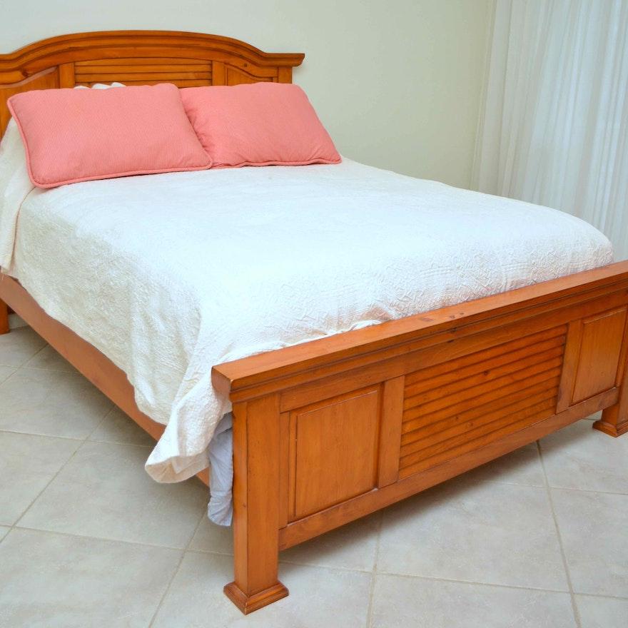 Honey Pine Queen Bed Frame Ebth