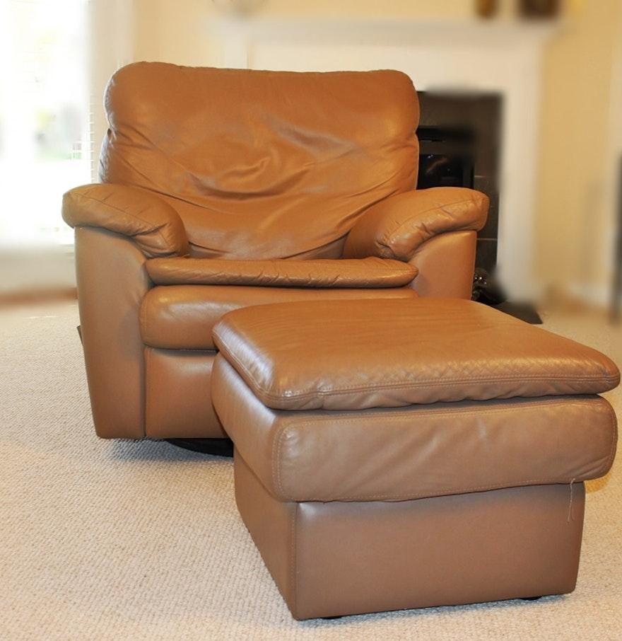 Buffalo Center Leather Rocker Recliner Swivel Chair With Ottoman