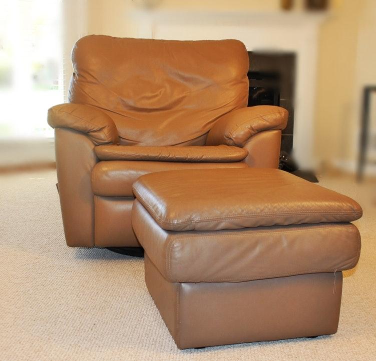 Buffalo Center Leather Rocker Recliner Swivel Chair with Ottoman ... & Buffalo Center Leather Rocker Recliner Swivel Chair with Ottoman : EBTH