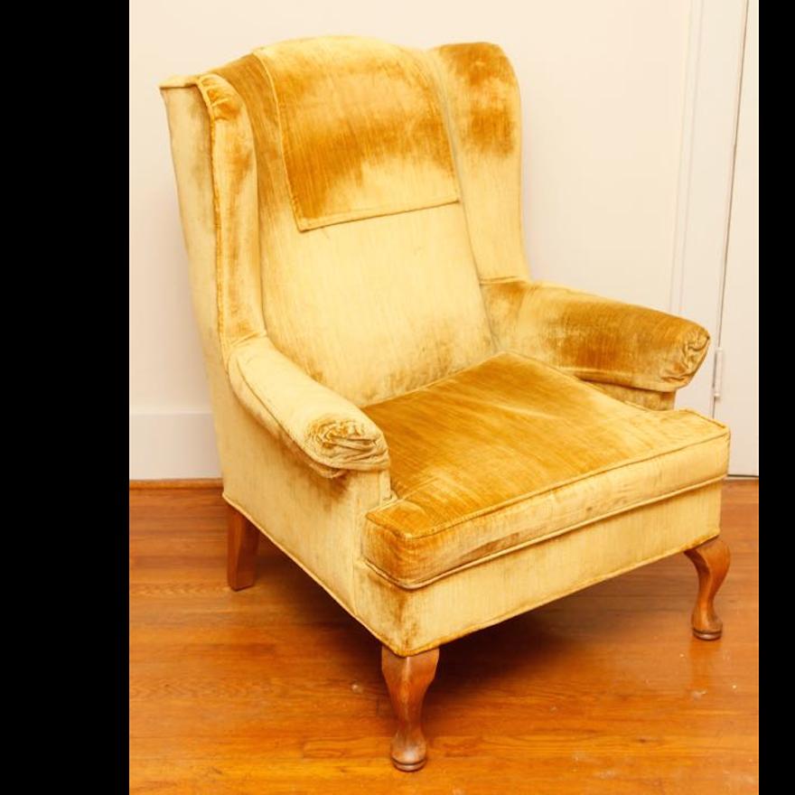 Norwalk Gold Wingback Chair
