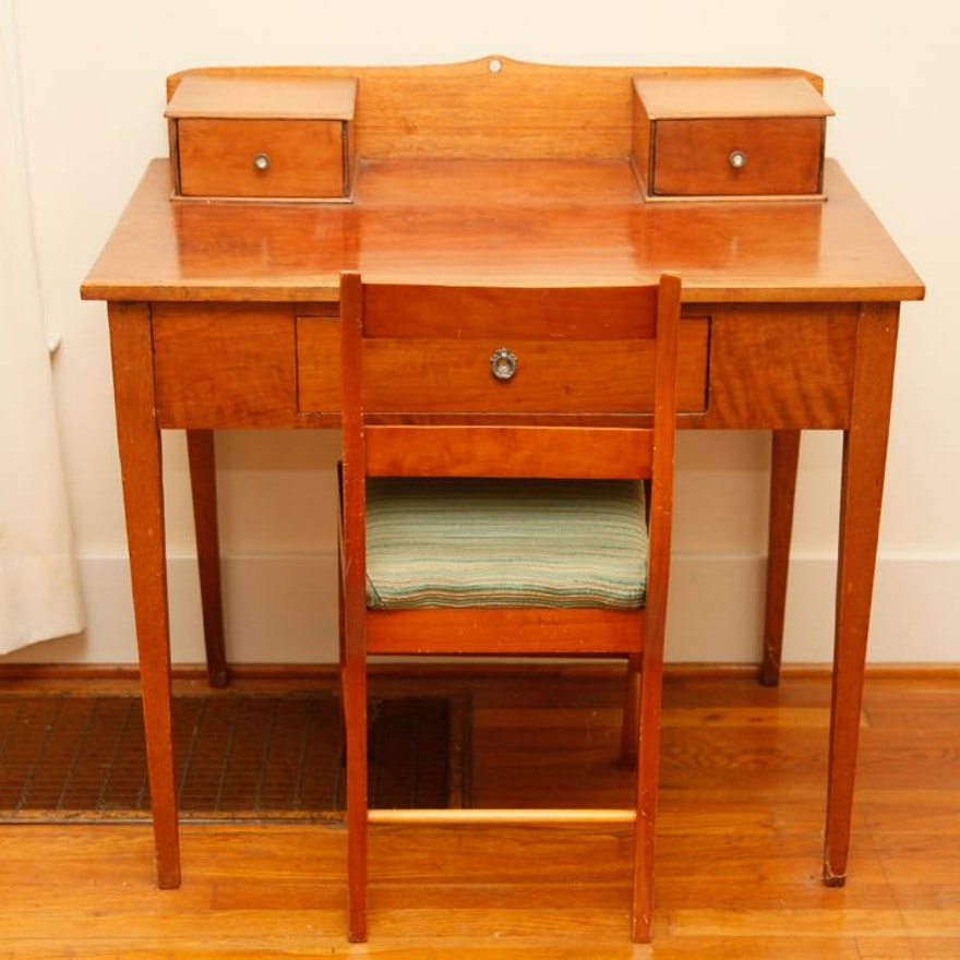 Antique Cherry Desk and Empire Reproduction Chair ... - Antique Cherry Desk And Empire Reproduction Chair : EBTH