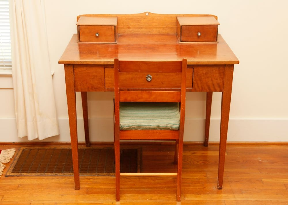 antique cherry desk and empire chair