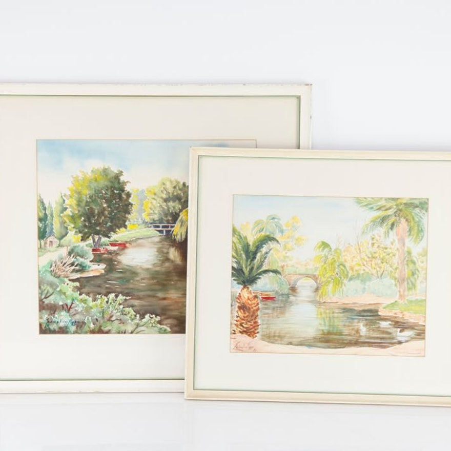 Two Original Landscapes by Thelma Vice Figge