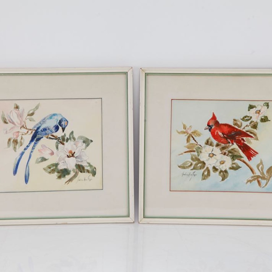Pair of Original Watercolors by Thelma Vice Figge