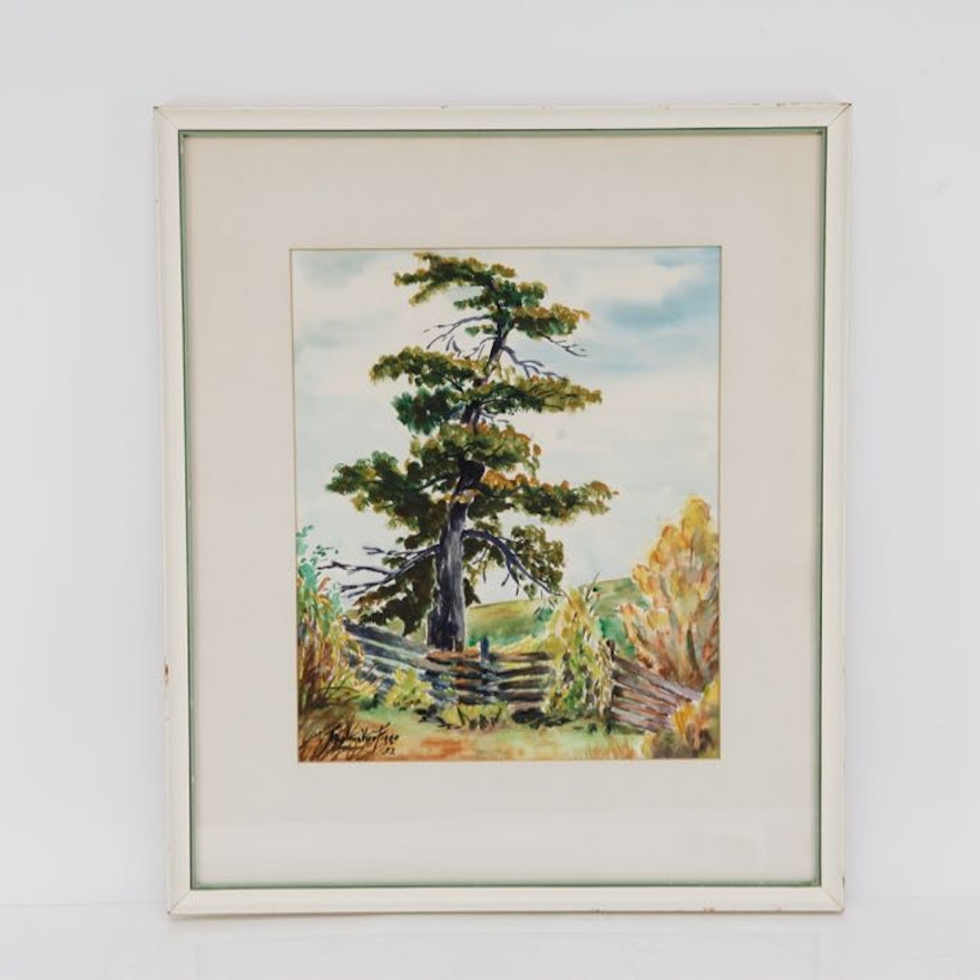 Original Watercolor of a Cyprus Tree by Thelma Vice Figge