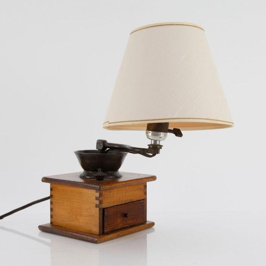 Converted Coffee Grinder Lamp