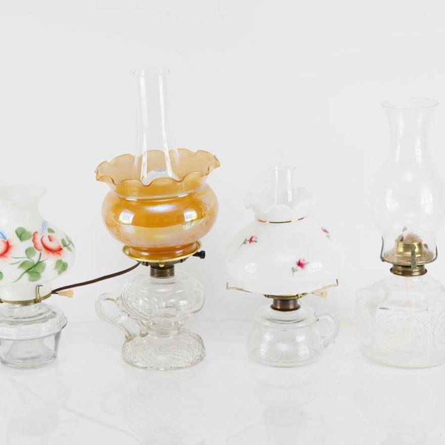 Group of Converted Kerosene Lamps and Standard Kerosene Lamp