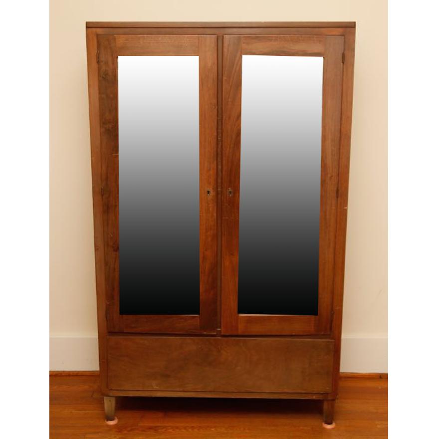 Vintage Walnut Mirrored Wardrobe