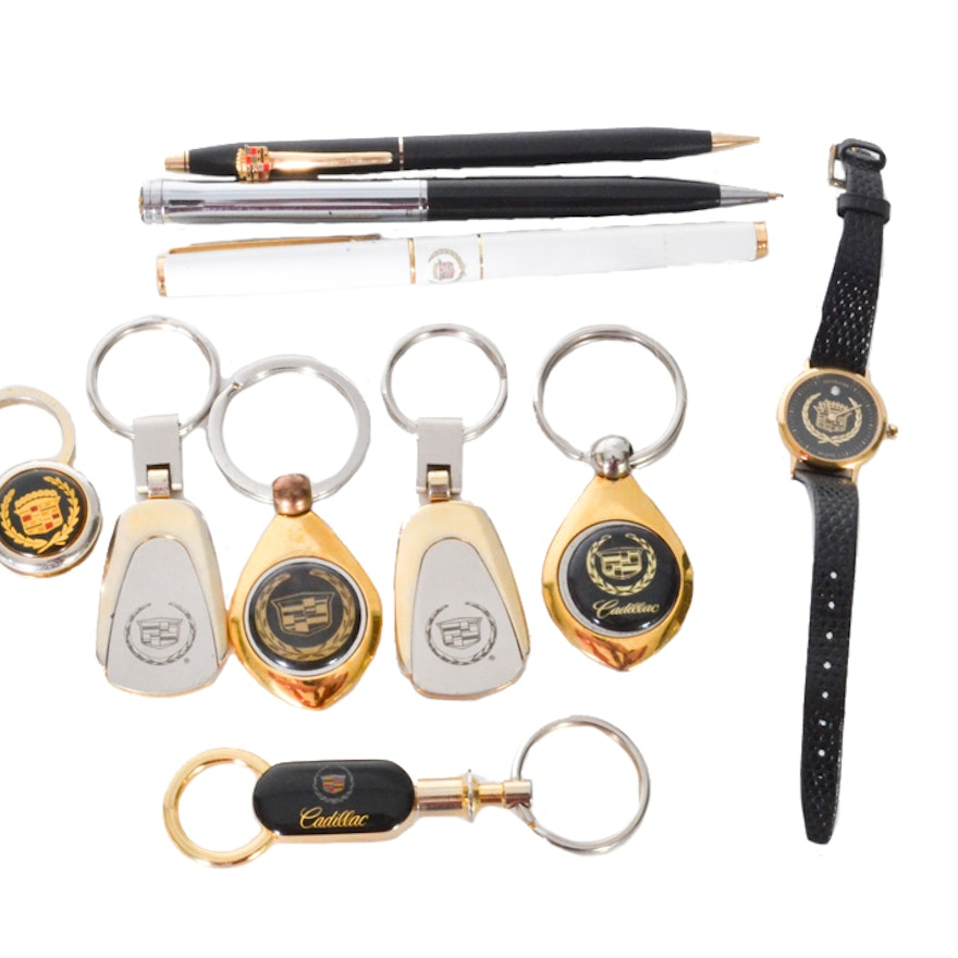 Vintage Cadillac Diamond Logo Watch By Wittnauer With Pens And Keychains