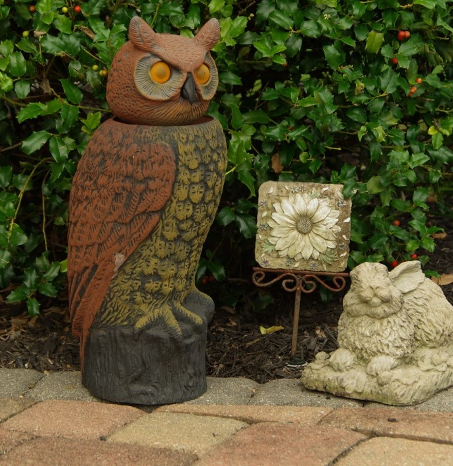 Owl bunny and flower garden ornaments ebth for Flower garden ornaments
