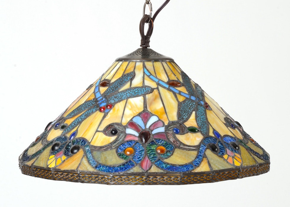 Stained Glass Dragonfly Design Hanging Lamp