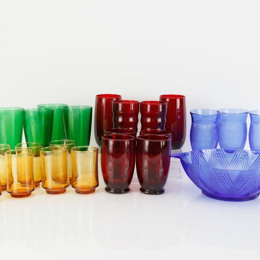 Multicolored Glassware and Bowl