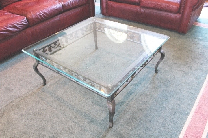 Wrought Iron and Glass Square Coffee Table EBTH