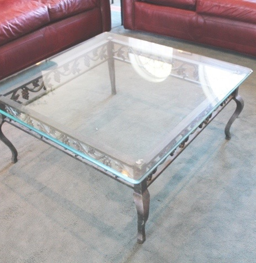 wrought iron and glass square coffee table  ebth - wrought iron and glass square coffee table