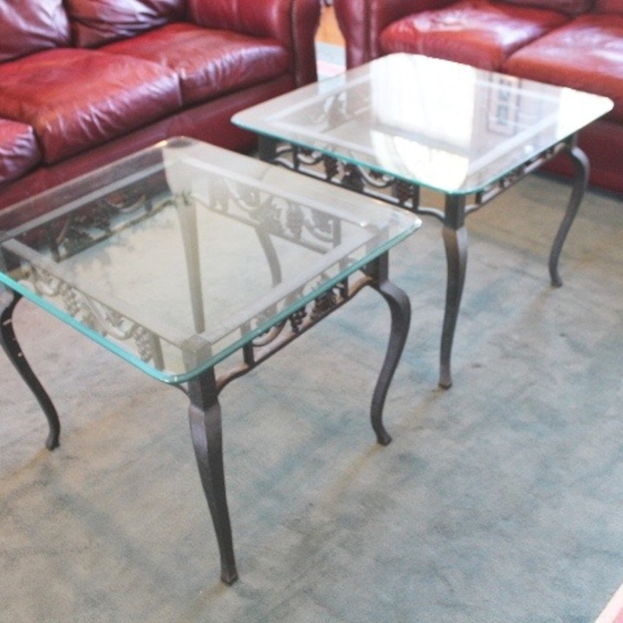 Two Wrought Iron And Gl End Tables