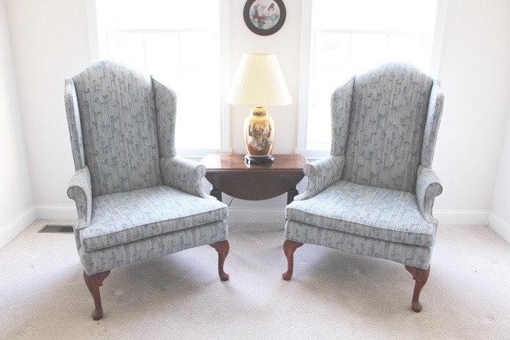 Beau Pair Of Clayton Marcus Blue Upholstered Wing Back Chairs ...