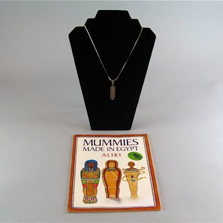 Silver Plate Cartouche and Egyptian Mummy Book