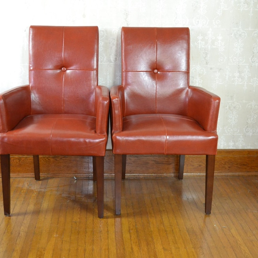 Pair Of Contemporary Leather Arm Chairs From Pier 1 Imports