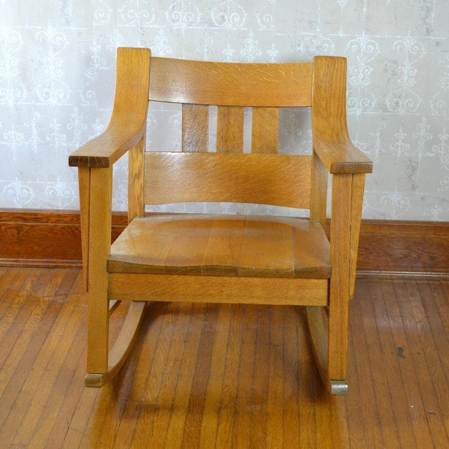 Arts & Crafts Style Oak Rocking Chair