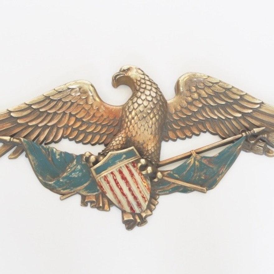 Vintage Syroco Inc. Bald Eagle and Shield Wall Decor : EBTH